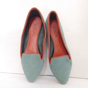 MIA turquoise snakeskin leather pointed toe flats